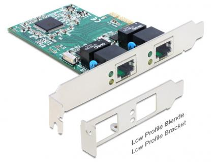 PCI Express Karte, Gigabit Lan 2x + LowProfile, Delock® [89358]