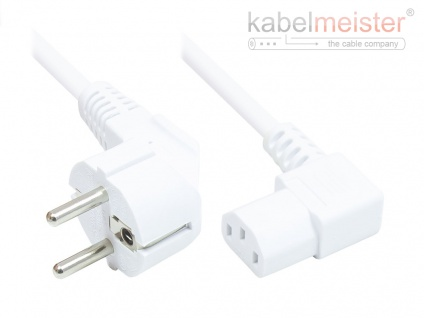 kabelmeister® Netzkabel Schutzkontakt-Stecker Typ E+F (CEE 7/7, gewinkelt) an C13 (rechts gewinkelt), weiß, 0, 75 mm², 1, 8 m