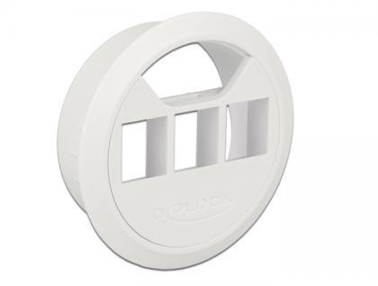 Keystone Halterung 3 Port Tisch-Einbau 60 mm weiß, Delock® [86276]