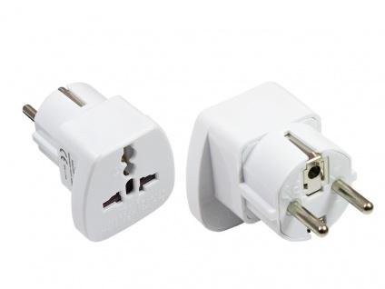 Universal Adapter Buchse an Schutzkontakt-Stecker für UK, Schweiz, Italien, U...