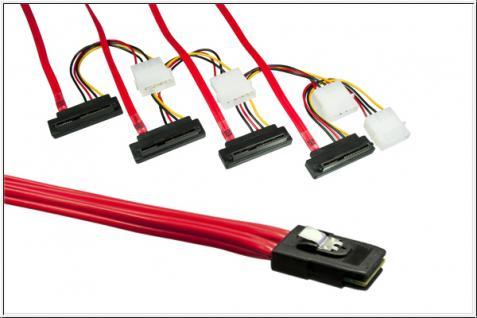 kabelmeister® Anschlusskabel SAS, Mini 36-pin Stecker (SFF-8087) auf 4x 29-pin Stecker (SFF-8482), gewinkelt, 0, 75m
