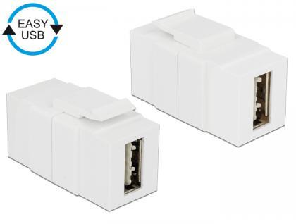 Keystone Modul EASY-USB 2.0 A Buchse an EASY-USB 2.0 A Buchse weiß, Delock® [86353]