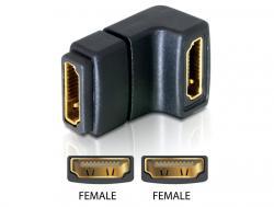 Adapter, HDMI Buchse an HDMI Buchse, 90____deg; gewinkelt, unten, Delock® [65075]