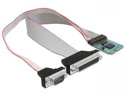 Schnittstellenkarte MiniPCIe I/O PCIe full size 1 x Seriell RS-232, 1 x Parallel, Delock® [95138]