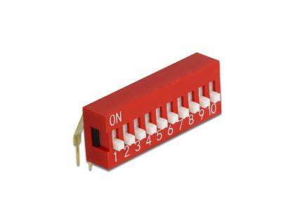 DIP-Schiebeschalter 10-stellig 2, 54 mm Rastermaß THT gewinkelt rot 5 Stück, Delock® [66162]