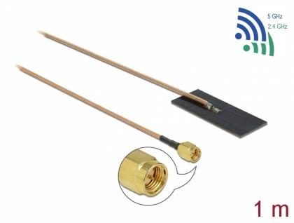 WLAN 802.11 ac/ax/a/h/b/g/n Antenne, SMA Stecker, 0, 5-1, 2dBi, RG-178, 1m, PCB intern, Klebemontage, Delock® [12610]