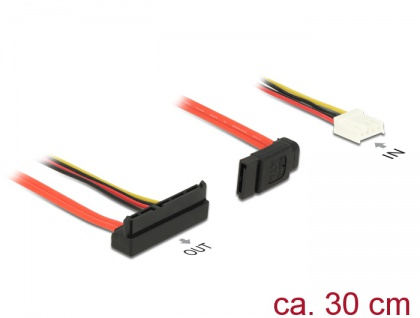 Kabel SATA 6 Gb/s 7 Pin Buchse + Floppy 4 Pin Strom Buchse (5V + 12V) > SATA 22 Pin Buchse oben gewinkelt, 0, 3m, Delock® [84853]