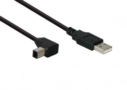 kabelmeister® Anschlusskabel USB 2.0 Stecker A an Stecker B gewinkelt 5m