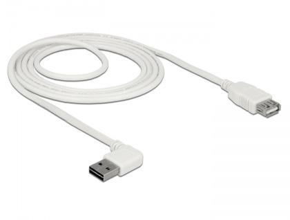 Verlängerungskabel EASY-USB 2.0 Typ-A Stecker gewinkelt links / rechts an USB 2.0 Typ-A Buchse, weiß, 2 m, Delock® [85180]