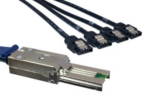 kabelmeister® SAS Kabel SFF-8088 auf 4x S-ATA xover, ext. mini SAS Host auf 4x S-ATA/SAS HDD, 75cm