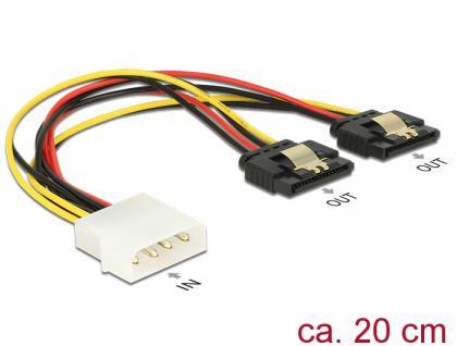Kabel Power Molex 4 Pin Stecker an 2x SATA 15 Pin Buchse Metall, 0, 2m , Delock® [85237]