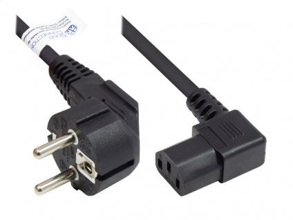 Netzkabel Schutzkontakt-Stecker Typ E+F (CEE 7/7, gewinkelt) an C13 (rechts gewinkelt), schwarz, 1, 00 mm², 3 m, Good Connections®