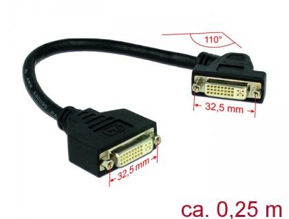 Kabel DVI 24+5 Buchse an DVI 24+5 Buchse anm Einbau 110____deg; gewinkelt, schwarz, 0, 25m, Delock® [85104]