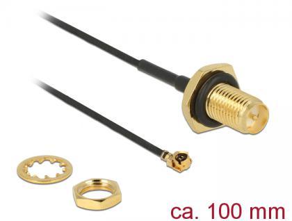 Antennenkabel RP-SMA Buchse zum Einbau an MHF / U.FL-LP-068 kompatibler Stecker, Gewindelänge 9mm, spritzwassergeschützt, 1m, Delock® [89584]