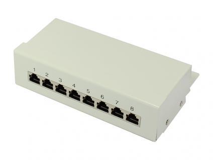 Patch Panel Desktop Cat. 6A, geschirmt, STP, 8-Port, lichtgrau RAL7035, Good Connections®