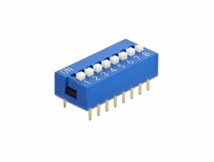 DIP-Schiebeschalter 8-stellig 2, 54 mm Rastermaß THT vertikal blau 5 Stück, Delock® [66099]