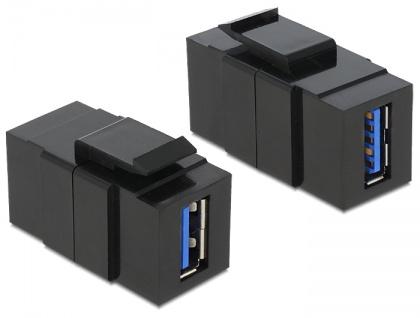 Keystone Modul USB 3.0 A Buchse an USB 3.0 A Buchse schwarz, Delock® [86369]
