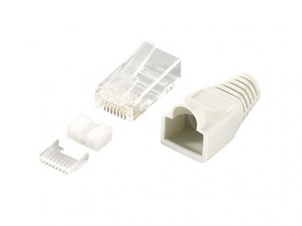 Modular Stecker Cat.6 RJ45 100 Stück, ungeschirmt, graue Tülle, LogiLink® [MP0023]