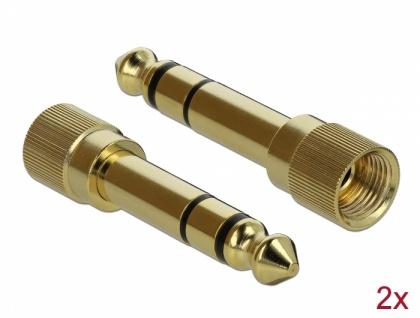 Spiralkabel 3, 5 mm 3 Pin Klinkenstecker an Klinkenstecker mit Schraubadapter, schwarz, 2 m, Delock® [85837]
