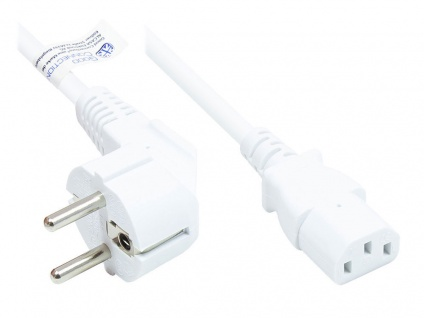 Netzkabel Schutzkontakt-Stecker Typ E+F (CEE 7/7, gewinkelt) an C13 (gerade), weiß, 0, 75 mm², 1 m, Good Connections®