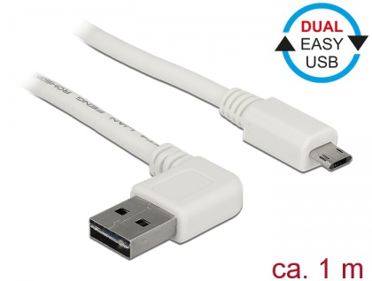 Kabel EASY-USB 2.0 Typ-A Stecker gewinkelt links / rechts an EASY-USB 2.0 Typ Micro-B Stecker, weiß, 1 m, Delock® [85171]