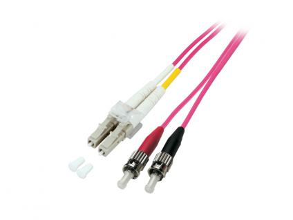 kabelmeister® Patchkabel LWL Duplex OM4 (Multimode, 50/125) LC/ST, 2m