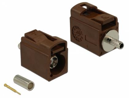 FAKRA F Buchse 21 mm (kurz) zum Crimpen, Delock® [89704]