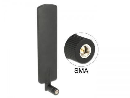 LTE Antenne SMA Stecker 2 dBi omnidirektional drehbar mit Kippgelenk schwarz, Delock® [89604]