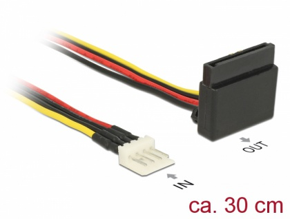 Stromkabel SATA 15 Pin Buchse > 4 Pin Floppy Stecker Metall 30 cm, Delock® [85511]