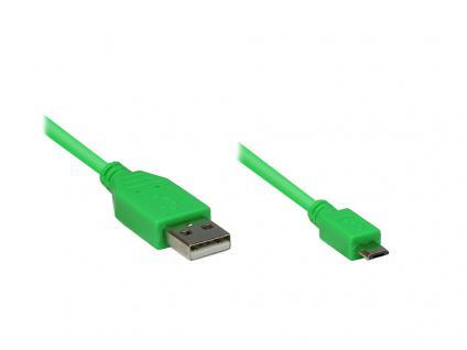 Anschlusskabel USB 2.0 Stecker A an Stecker Micro B, grün, 1m, Good Connections®
