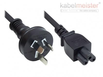 kabelmeister® Netzkabel Australien Netz-Stecker Typ I (AS 3112) an C5 für Notebook, SAA/Tick Mark, schwarz, 0, 75 mm², 1, 8 m