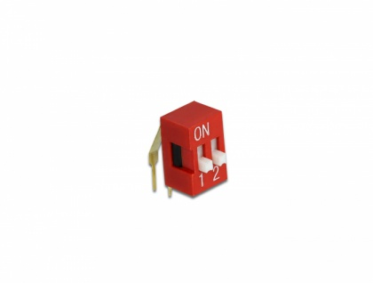 DIP-Schiebeschalter 2-stellig 2, 54 mm Rastermaß THT gewinkelt rot 2 Stück, Delock® [66149]