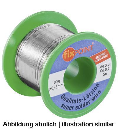 Lötzinn 100g Rolle, Ø 0, 35mm, Material: 95, 5% Zinn, 3, 8% Silber, 0, 7% Kupfer