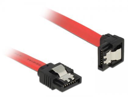 Anschlusskabel SATA 6 Gb/s Stecker gerade an SATA Stecker unten gewinkelt Metall, rot, 0, 7m, Delock® [83980]