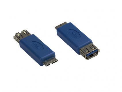 kabelmeister® Adapter USB 3.0 Typ A Kupplung auf Typ Micro B Stecker, blau