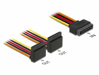 Kabel SATA 15 Pin Strom Stecker mit Einrastfunktion > 2 x SATA 15 Pin Strom Buchse oben 15 cm, Delock® [60170]