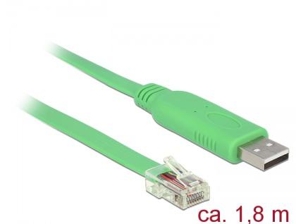 Adapter USB 2.0 Typ-A Stecker an 1 x Seriell RS-232 RJ45 Stecker 1, 8 m, Delock® [62960]