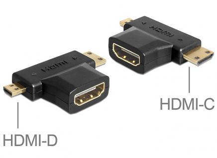 Adapter HDMI-A Bu an HDMI-C + HDMI-D Stecker 2in1 Delock® [65446]