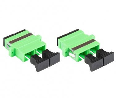 kabelmeister® LWL Duplex Kupplung, SC (APC) an SC (APC), OS2, Singlemode, Kunststoffgehäuse mit Flansch, Keramikhülse, grün