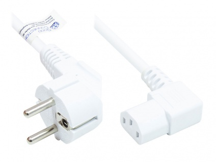 Netzkabel Schutzkontakt-Stecker Typ E+F (CEE 7/7, gewinkelt) an C13 (rechts gewinkelt), weiß, 0, 75 mm², 1, 8 m, Good Connections®