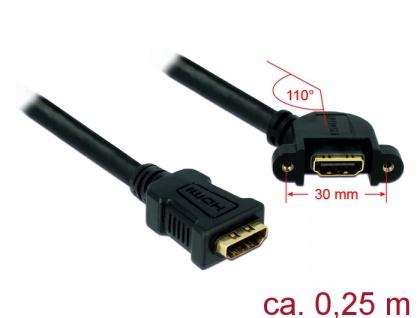 Kabel HDMI A Buchse an HDMI A Buchse anm Einbau 110____deg; gewinkelt, schwarz, 0, 25m, Delock® [85101]