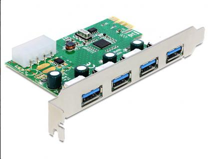 PCI Express Karte, USB 3.0, 4 Port NEC-Chipset , Delock® [89363]
