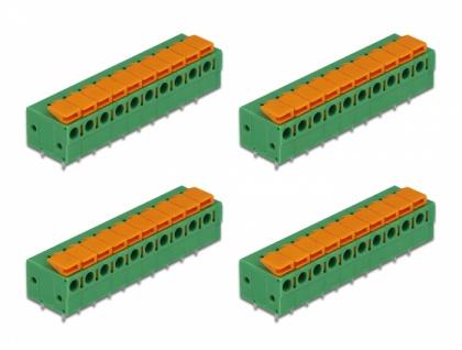 Terminalblock mit Drucktaster für Platine 10 Pin 5, 08 mm Rastermaß horizontal 4 Stück, Delock® [66278]