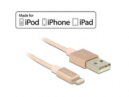 USB Daten- und Ladekabel für iPhone, iPad, iPod MFI, mit Textilummantelung, rosa, 1m, Delock® [83875]
