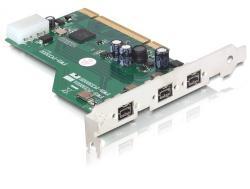 Schnittstellenkarte, PCI Karte an FireWire B 3 Port (IEEE 1394b) mit Schraubanschluss, Delock® [89212]