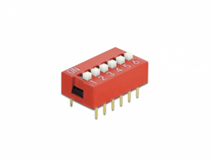 DIP-Schiebeschalter 6-stellig 2, 54 mm Rastermaß THT vertikal rot 10 Stück, Delock® [66033]