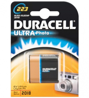 Duracell® Foto Batterie Lithium (DL 223) für Foto, Digital-, MP3 Geräte; 1er Blister