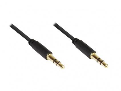 Anschlusskabel Klinke 3, 5mm Stecker an Stecker (3polig), Slim-Ausführung, schwarz, 0, 5m, Good Connections®