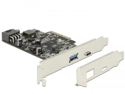 PCI Express x4 Karte an 1x extern USB Type-C™ Buchse mit PD Funktion max. 93 Watt + 1x extern USB 3.1 Typ-A Buchse, Delock® [89606]