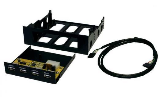 Hub, USB 2.0, 4 Port, intern für 5 1/4' und 3 1/2' Front-Einschub (Schwarz und Metall), Exsys® [EX-1174]